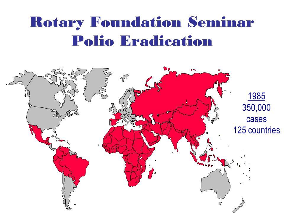 Rotary Foundation Seminar Polio Eradication 1985 350,000 cases 125 countries