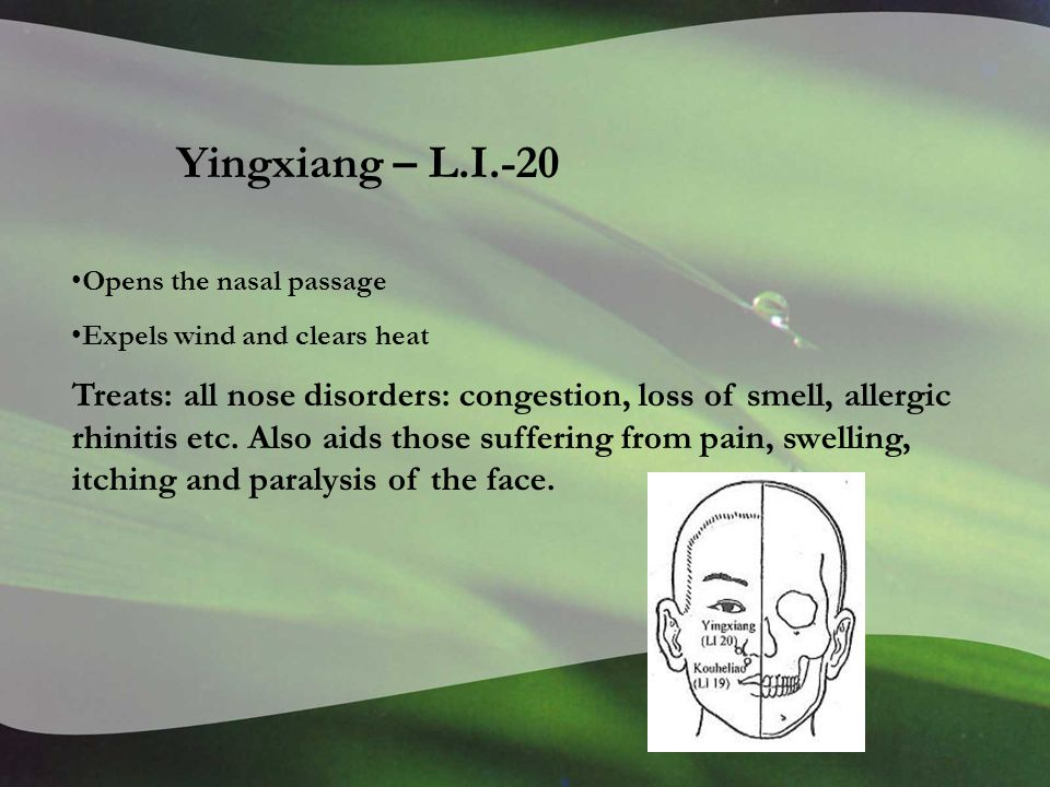 Yingxiang – L.I.-20 Opens the nasal passage Expels wind and clears heat Treats: all nose disorders: congestion, loss of smell, allergic rhinitis etc.