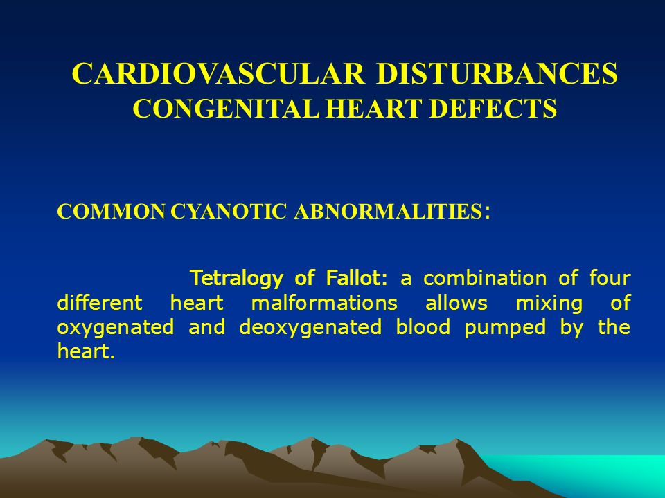 CARDIOVASCULAR DISTURBANCES CONGENITAL HEART DEFECTS COMMON CYANOTIC ABNORMALITIES : Coarctation of the aorta: a portion of the aorta is abnormally narrow and unable to carry sufficient blood to the body, placing extra strain on the left ventricle with high blood pressure in the upper body and rupture of blood vessel in the brain