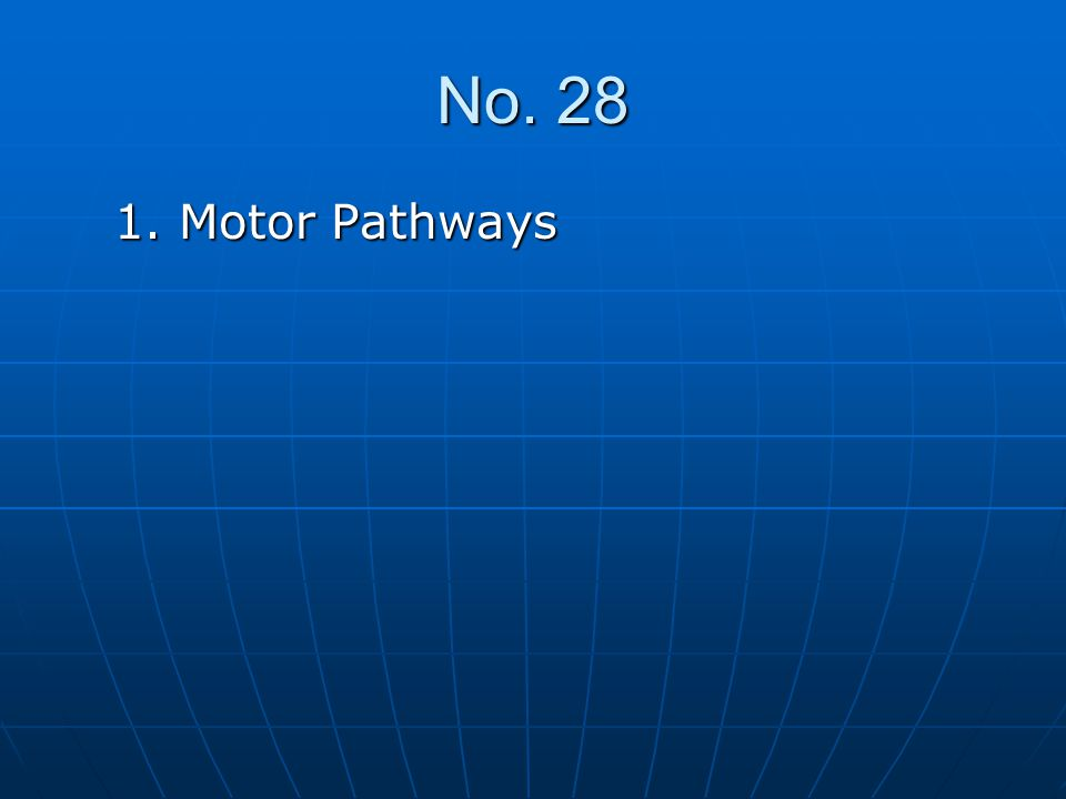 No. 28 1. Motor Pathways 1. Motor Pathways