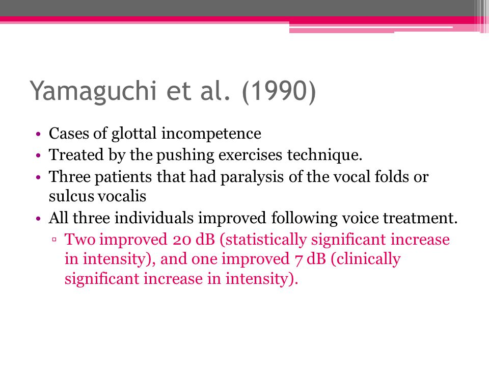 Yamaguchi et al. (1990) Cases of glottal incompetence Treated by the pushing exercises technique. Three patients that had paralysis of the vocal folds