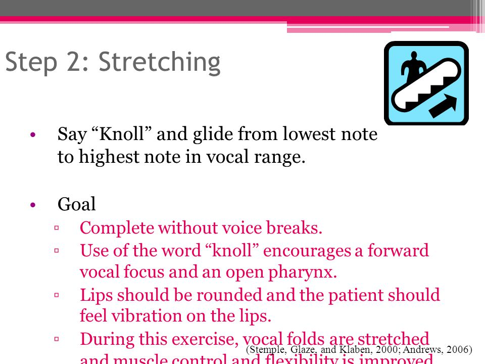 """Step 2: Stretching Say """"Knoll"""" and glide from lowest note to highest note in vocal range. Goal ▫Complete without voice breaks. ▫Use of the word """"knoll"""