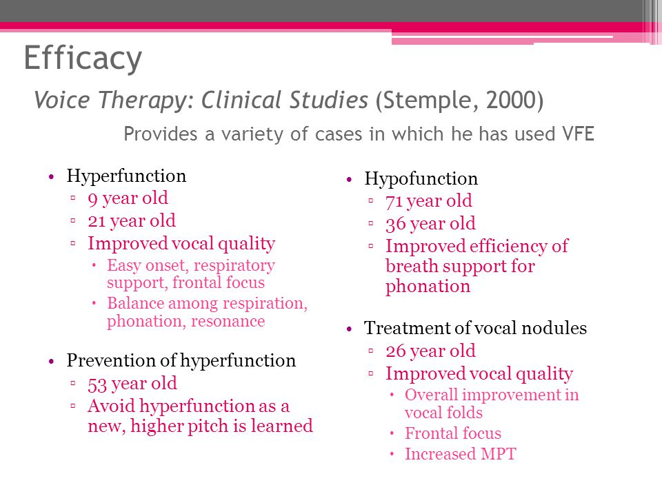 Efficacy Voice Therapy: Clinical Studies (Stemple, 2000) Provides a variety of cases in which he has used VFE Hyperfunction ▫9 year old ▫21 year old ▫