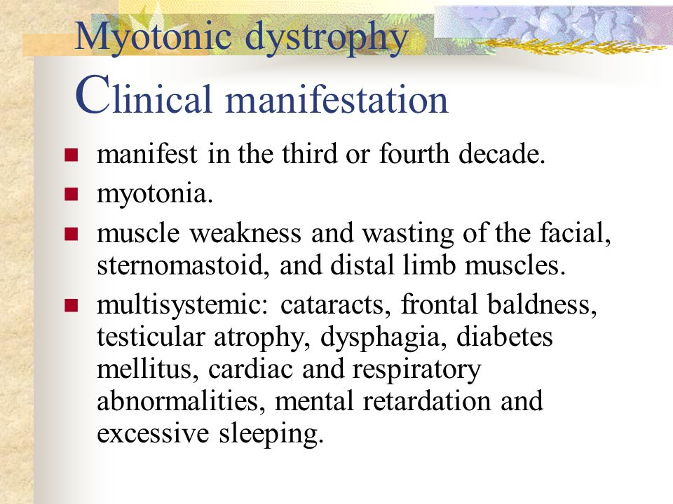 Myotonic dystrophy C linical manifestation manifest in the third or fourth decade.