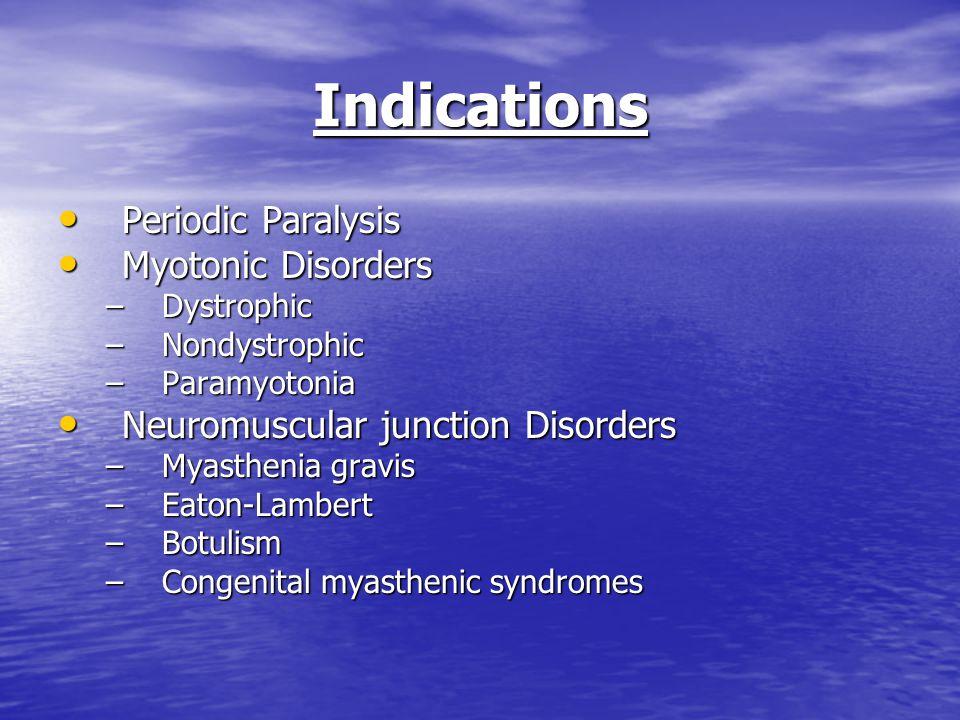 Indications Periodic Paralysis Periodic Paralysis Myotonic Disorders Myotonic Disorders –Dystrophic –Nondystrophic –Paramyotonia Neuromuscular junctio