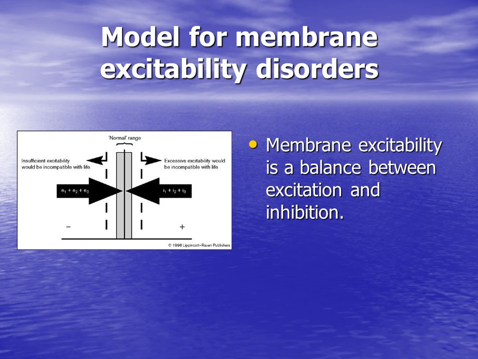 Model for membrane excitability disorders Membrane excitability is a balance between excitation and inhibition. Membrane excitability is a balance bet