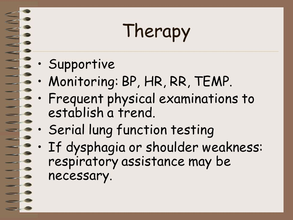 Therapy Supportive Monitoring: BP, HR, RR, TEMP.