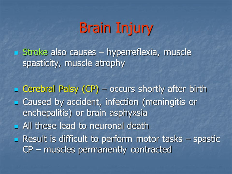 Brain Injury Stroke also causes – hyperreflexia, muscle spasticity, muscle atrophy Stroke also causes – hyperreflexia, muscle spasticity, muscle atrophy Cerebral Palsy (CP) – occurs shortly after birth Cerebral Palsy (CP) – occurs shortly after birth Caused by accident, infection (meningitis or enchepalitis) or brain asphyxsia Caused by accident, infection (meningitis or enchepalitis) or brain asphyxsia All these lead to neuronal death All these lead to neuronal death Result is difficult to perform motor tasks – spastic CP – muscles permanently contracted Result is difficult to perform motor tasks – spastic CP – muscles permanently contracted