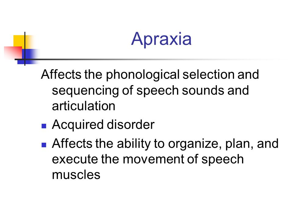Apraxia Affects the phonological selection and sequencing of speech sounds and articulation Acquired disorder Affects the ability to organize, plan, a