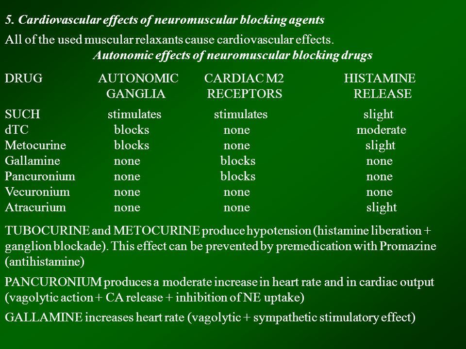 5. Cardiovascular effects of neuromuscular blocking agents All of the used muscular relaxants cause cardiovascular effects. Autonomic effects of neuro