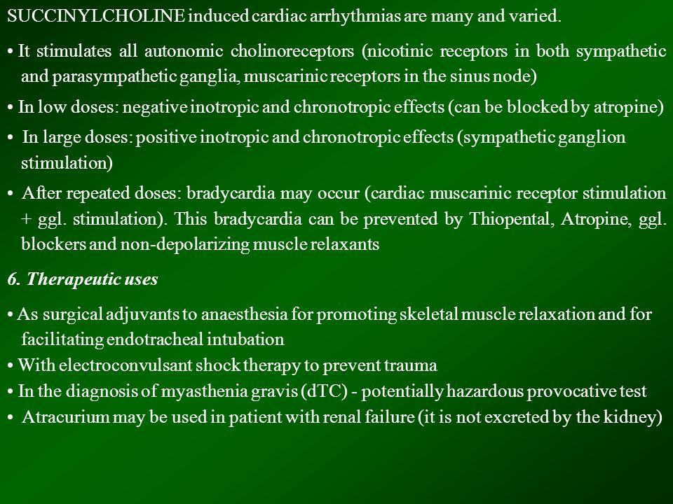 SUCCINYLCHOLINE induced cardiac arrhythmias are many and varied.