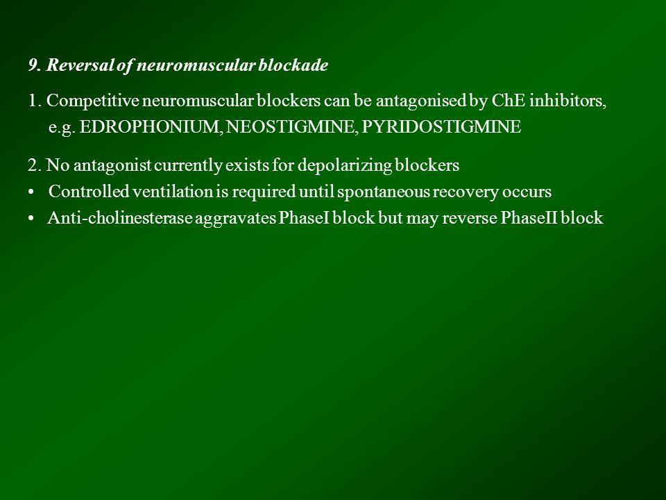 9. Reversal of neuromuscular blockade 1.