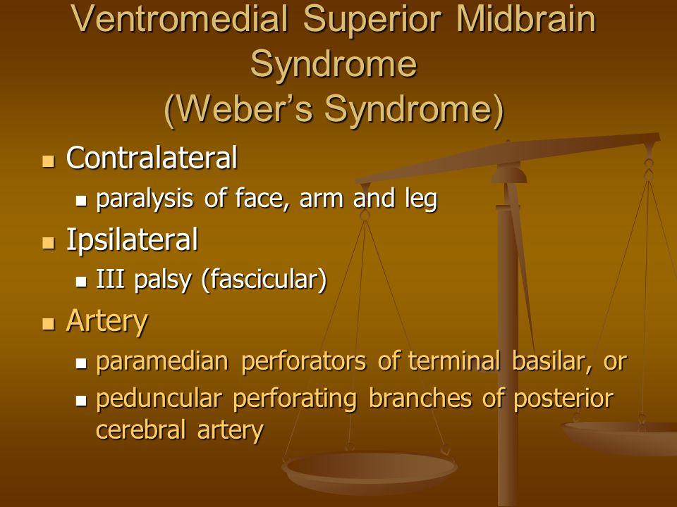 Ventromedial Superior Midbrain Syndrome (Weber's Syndrome) Contralateral Contralateral paralysis of face, arm and leg paralysis of face, arm and leg I