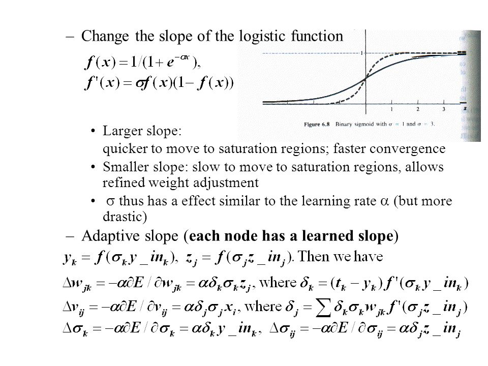 –Change the slope of the logistic function Larger slope: quicker to move to saturation regions; faster convergence Smaller slope: slow to move to satu