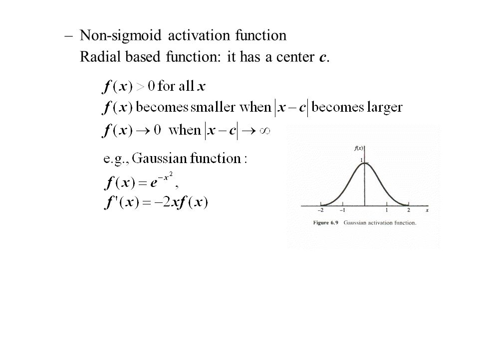–Non-sigmoid activation function Radial based function: it has a center c.