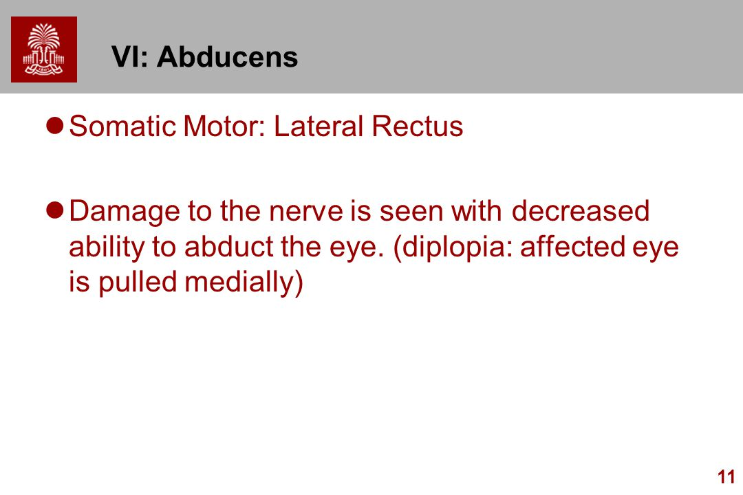 11 VI: Abducens Somatic Motor: Lateral Rectus Damage to the nerve is seen with decreased ability to abduct the eye. (diplopia: affected eye is pulled