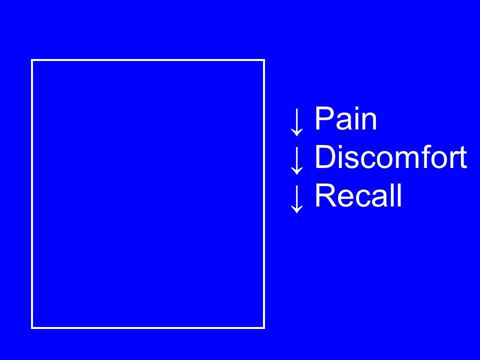 ↓ Pain ↓ Discomfort ↓ Recall