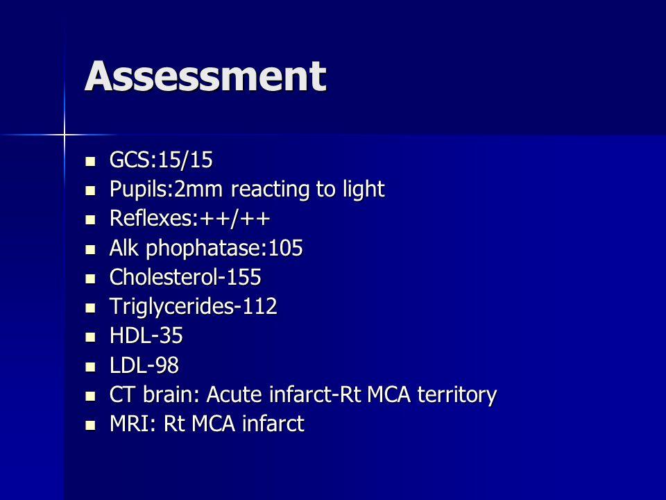 Assessment GCS:15/15 GCS:15/15 Pupils:2mm reacting to light Pupils:2mm reacting to light Reflexes:++/++ Reflexes:++/++ Alk phophatase:105 Alk phophatase:105 Cholesterol-155 Cholesterol-155 Triglycerides-112 Triglycerides-112 HDL-35 HDL-35 LDL-98 LDL-98 CT brain: Acute infarct-Rt MCA territory CT brain: Acute infarct-Rt MCA territory MRI: Rt MCA infarct MRI: Rt MCA infarct