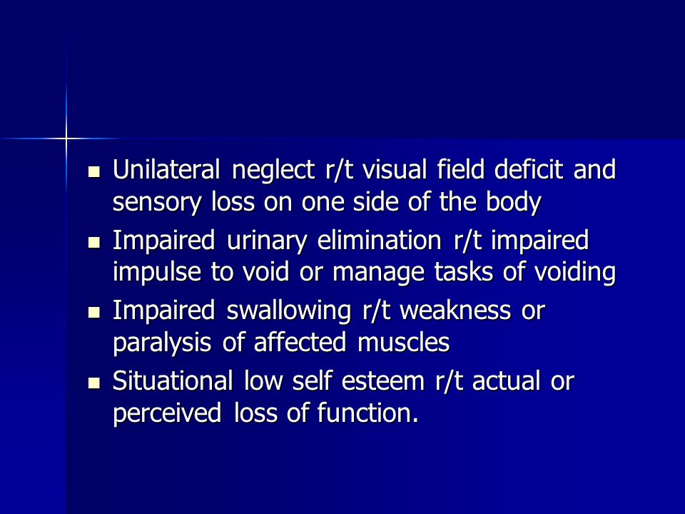 Unilateral neglect r/t visual field deficit and sensory loss on one side of the body Unilateral neglect r/t visual field deficit and sensory loss on one side of the body Impaired urinary elimination r/t impaired impulse to void or manage tasks of voiding Impaired urinary elimination r/t impaired impulse to void or manage tasks of voiding Impaired swallowing r/t weakness or paralysis of affected muscles Impaired swallowing r/t weakness or paralysis of affected muscles Situational low self esteem r/t actual or perceived loss of function.