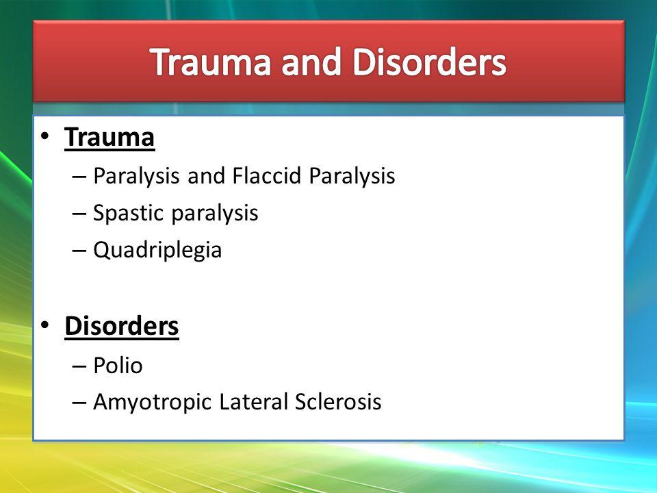 Trauma – Paralysis and Flaccid Paralysis – Spastic paralysis – Quadriplegia Disorders – Polio – Amyotropic Lateral Sclerosis