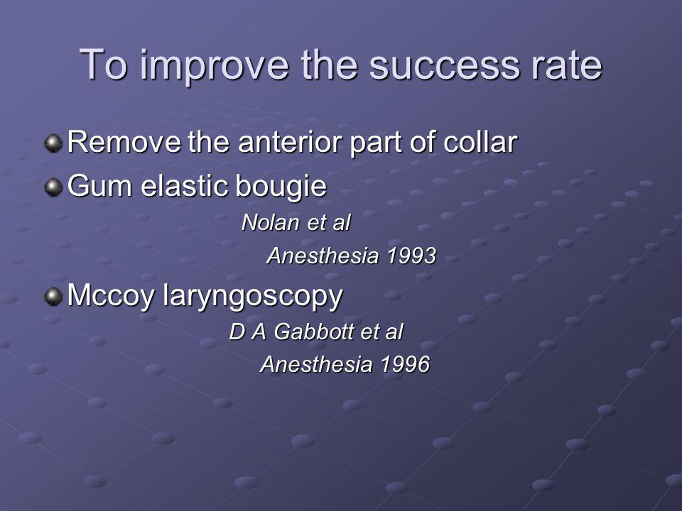 To improve the success rate Remove the anterior part of collar Gum elastic bougie Nolan et al Nolan et al Anesthesia 1993 Anesthesia 1993 Mccoy laryng