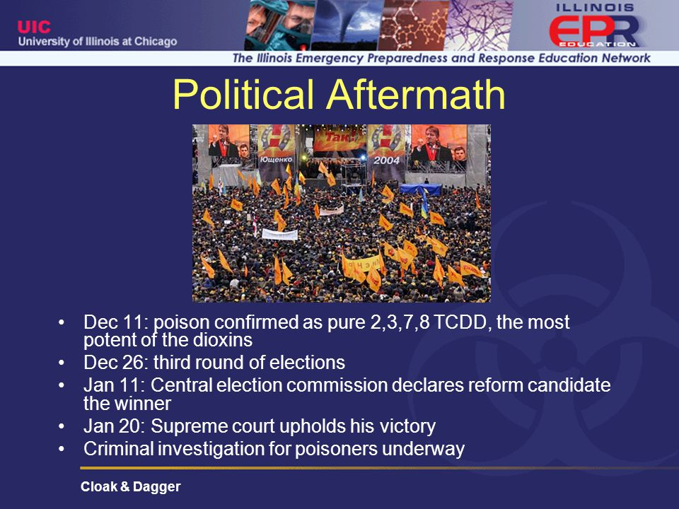 Cloak & Dagger Political Aftermath Dec 11: poison confirmed as pure 2,3,7,8 TCDD, the most potent of the dioxins Dec 26: third round of elections Jan 11: Central election commission declares reform candidate the winner Jan 20: Supreme court upholds his victory Criminal investigation for poisoners underway