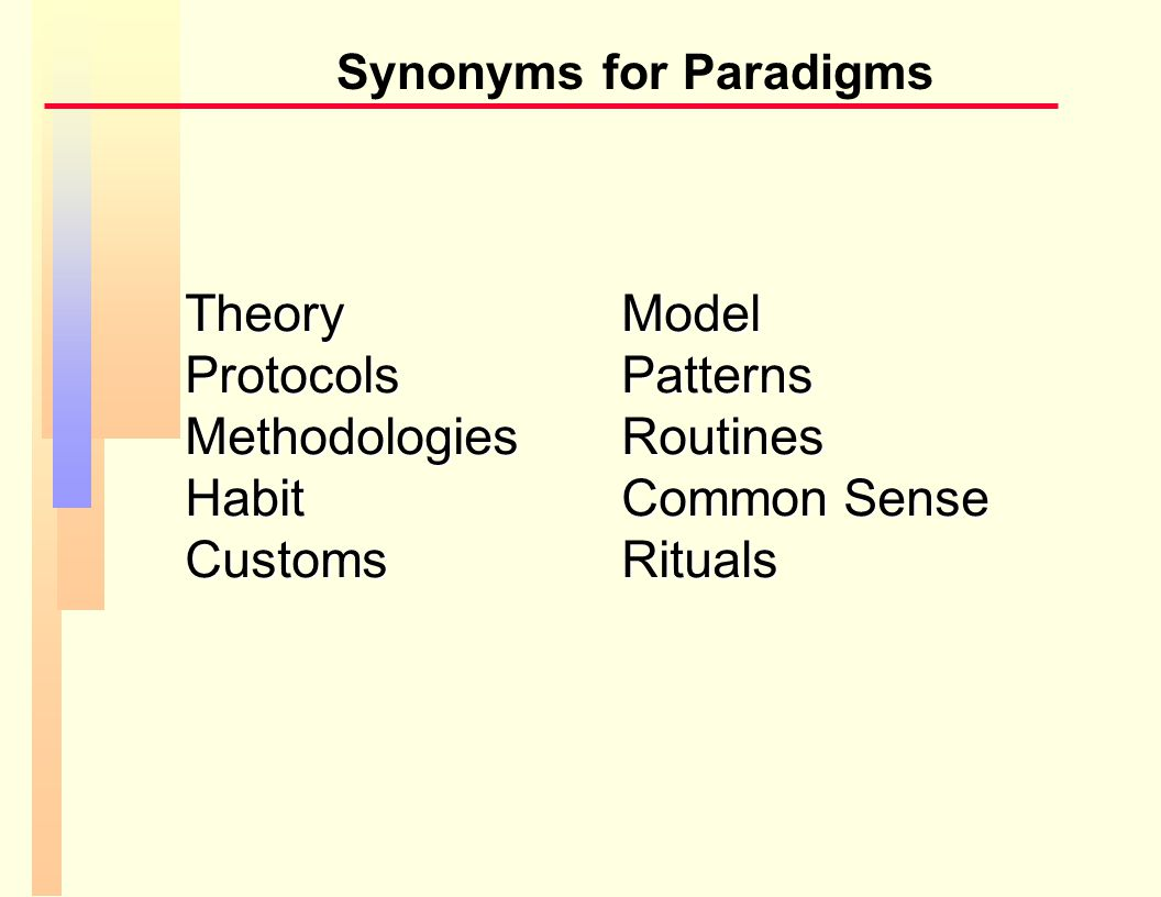 Summary Key Points n Paradigms are common in all areas n Most paradigms are useful n When your paradigm becomes THE paradigm – you reject other paradigm right away => Paradigm paralysis => A terminal disease.