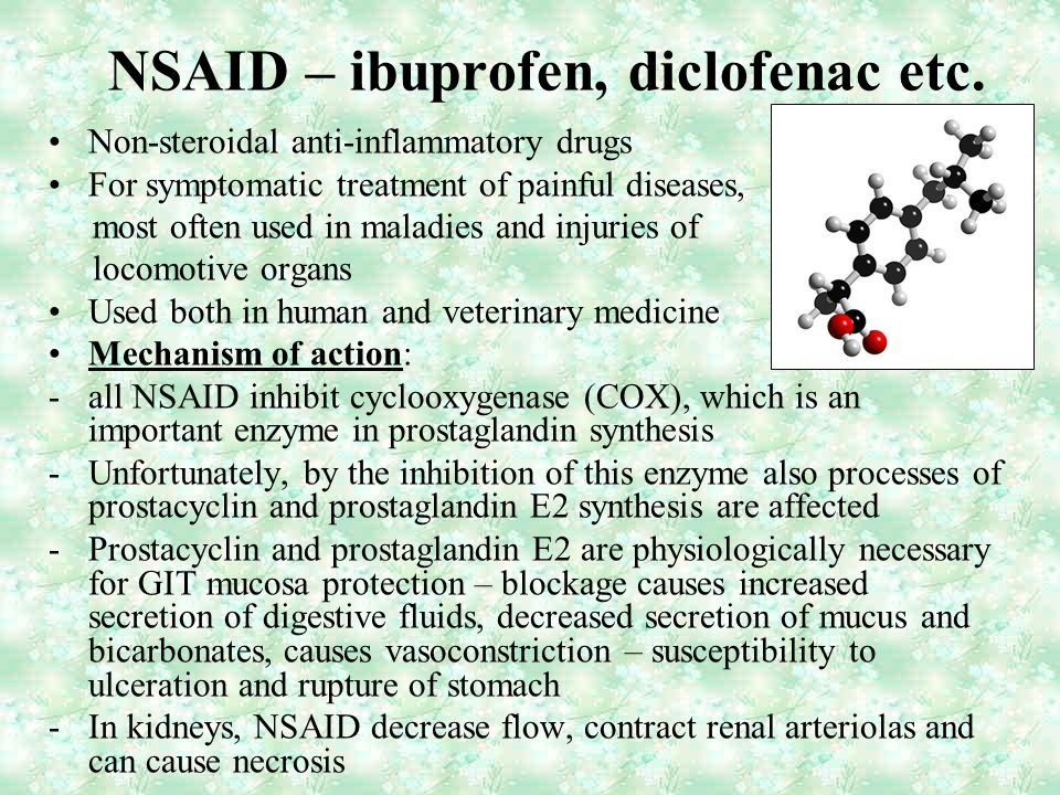 NSAID – ibuprofen, diclofenac etc. Non-steroidal anti-inflammatory drugs For symptomatic treatment of painful diseases, most often used in maladies an