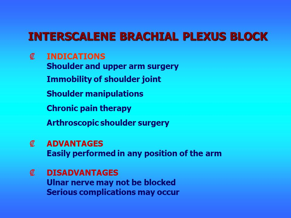 ₡INDICATIONS Shoulder and upper arm surgery Immobility of shoulder joint Shoulder manipulations Chronic pain therapy Arthroscopic shoulder surgery ₡ADVANTAGES Easily performed in any position of the arm ₡DISADVANTAGES Ulnar nerve may not be blocked Serious complications may occur INTERSCALENE BRACHIAL PLEXUS BLOCK