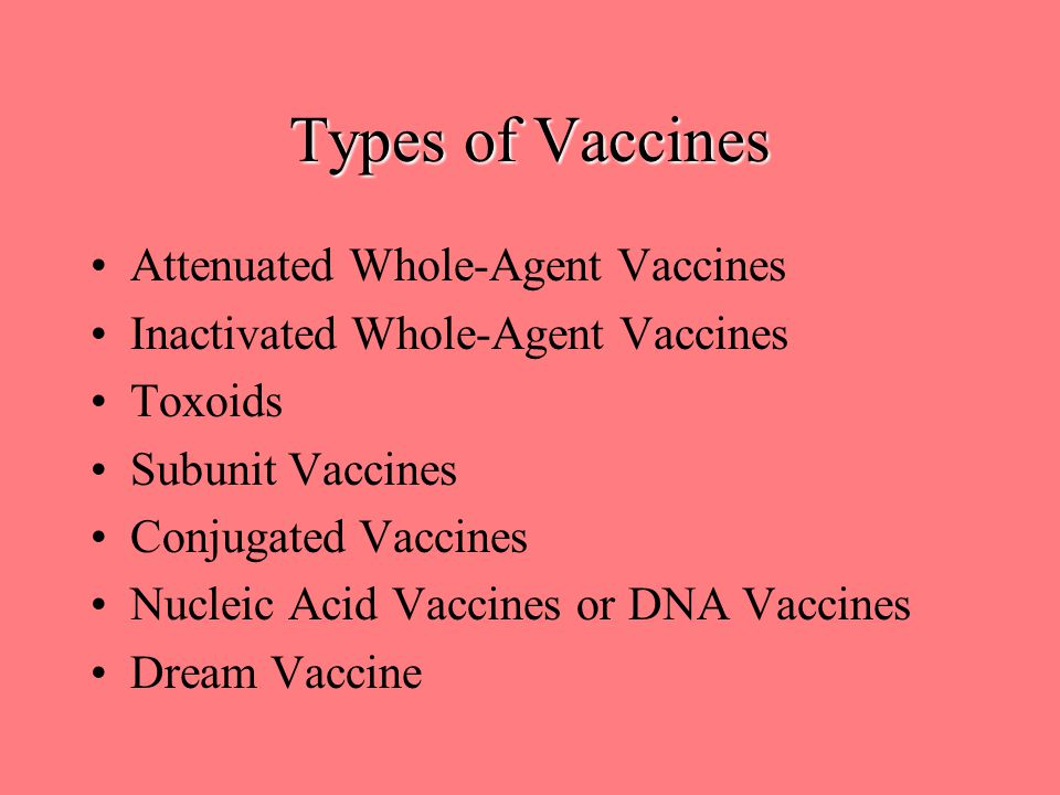 Types of Vaccines Attenuated Whole-Agent Vaccines Inactivated Whole-Agent Vaccines Toxoids Subunit Vaccines Conjugated Vaccines Nucleic Acid Vaccines or DNA Vaccines Dream Vaccine