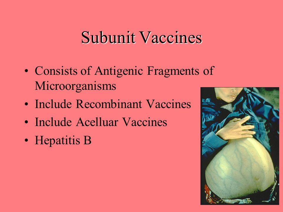 Subunit Vaccines Consists of Antigenic Fragments of Microorganisms Include Recombinant Vaccines Include Acelluar Vaccines Hepatitis B