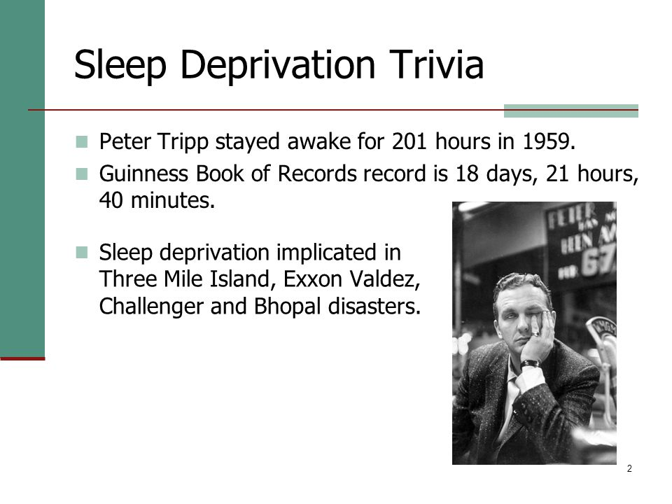 2 Sleep Deprivation Trivia Peter Tripp stayed awake for 201 hours in 1959.