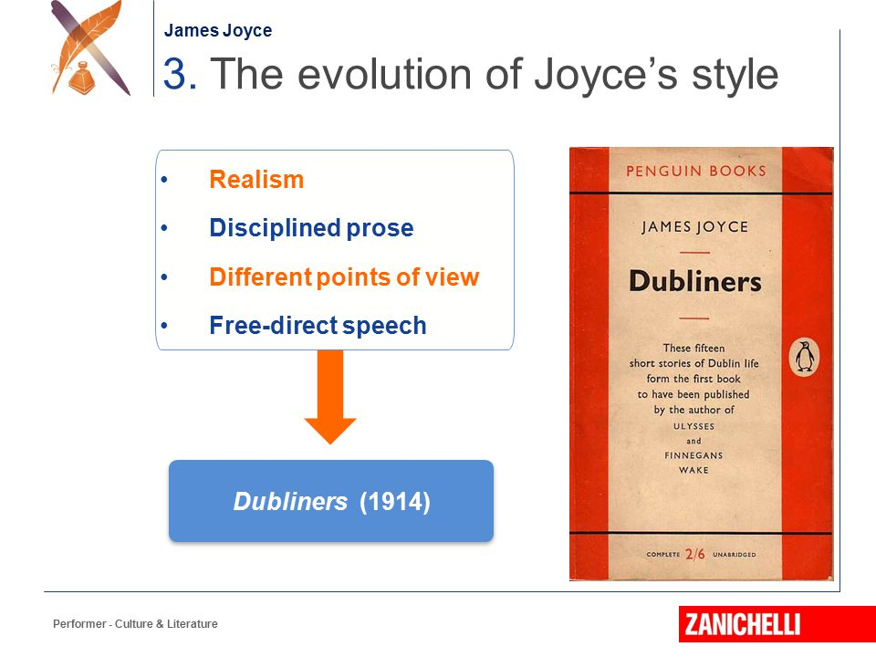 Jonathan Swift Performer - Culture & Literature 3. The evolution of Joyce's style James Joyce Dubliners (1914) Realism Disciplined prose Different poi