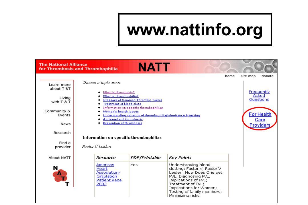 For Health Care Providers NATT www.nattinfo.org