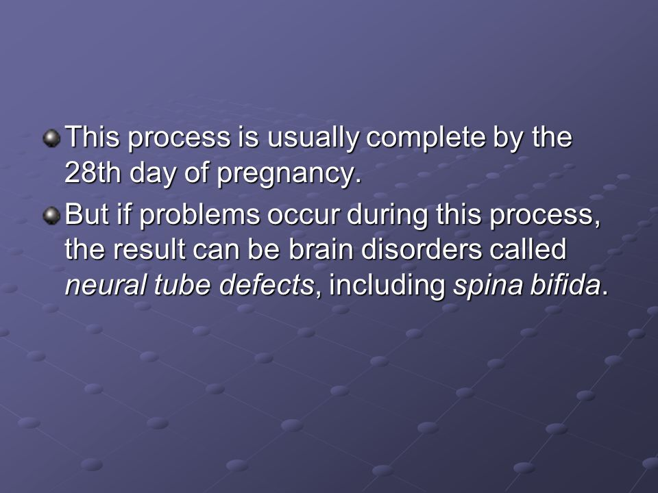 This process is usually complete by the 28th day of pregnancy.