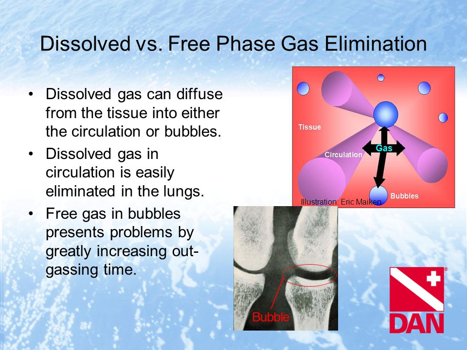 Dissolved vs. Free Phase Gas Elimination Dissolved gas can diffuse from the tissue into either the circulation or bubbles. Dissolved gas in circulatio