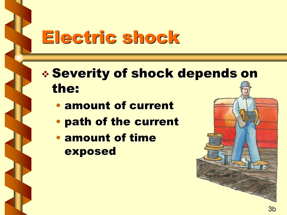 Electric shock v Severity of shock depends on the: amount of currentamount of current path of the currentpath of the current amount of time exposedamo