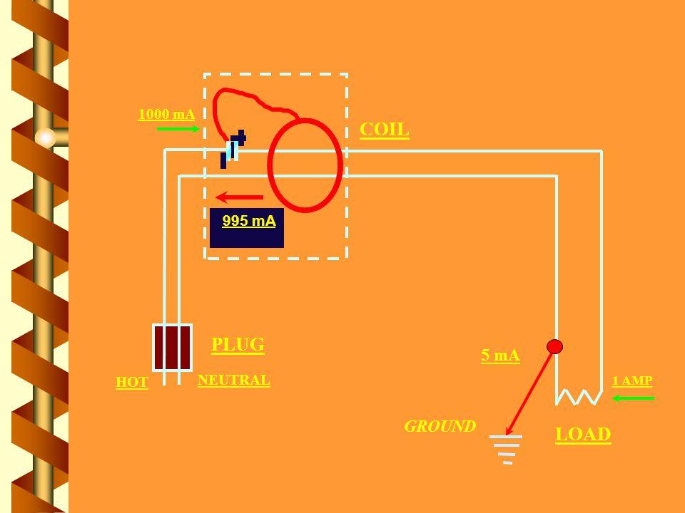 1000 mA PLUG COIL LOAD HOT NEUTRAL 1000 mA 1 AMP 5 mA GROUND 995 mA