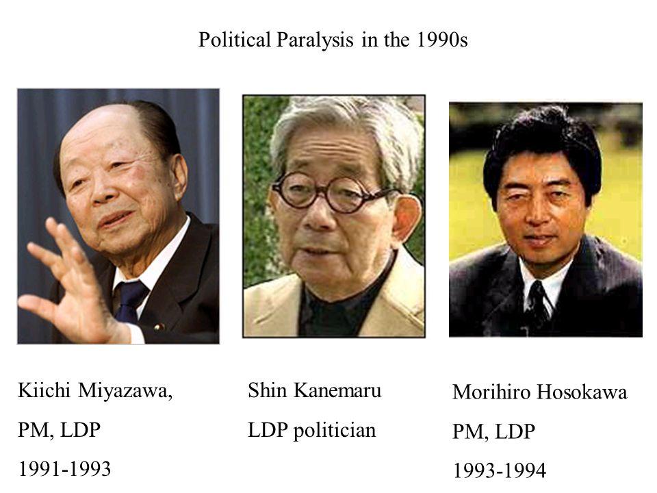 Kiichi Miyazawa, PM, LDP 1991-1993 Political Paralysis in the 1990s Shin Kanemaru LDP politician Morihiro Hosokawa PM, LDP 1993-1994