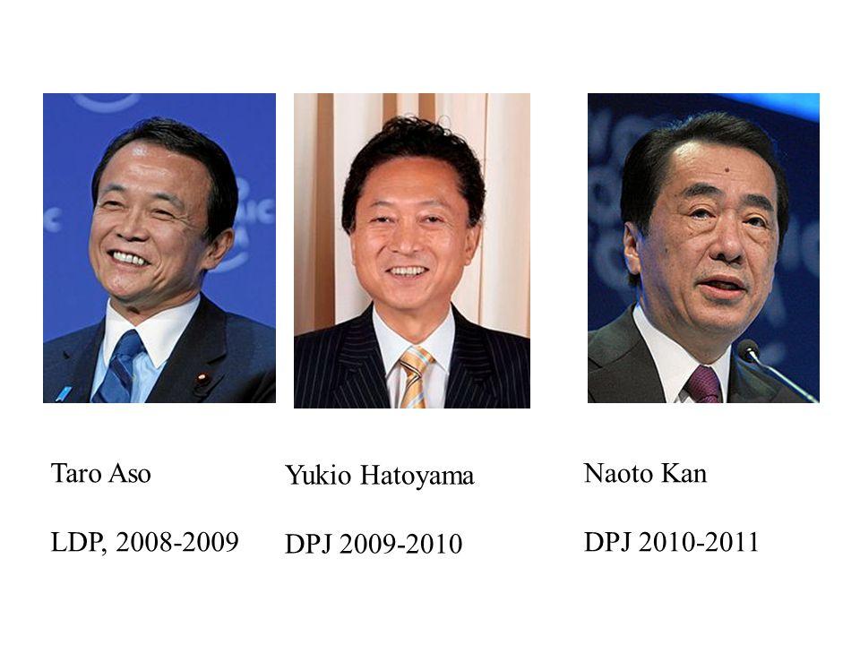 Taro Aso LDP, 2008-2009 Yukio Hatoyama DPJ 2009-2010 Naoto Kan DPJ 2010-2011