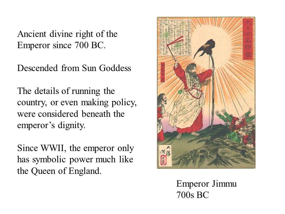 Emperor Jimmu 700s BC Ancient divine right of the Emperor since 700 BC.