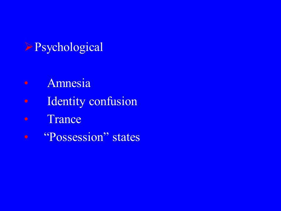  Psychological Amnesia Identity confusion Trance Possession states