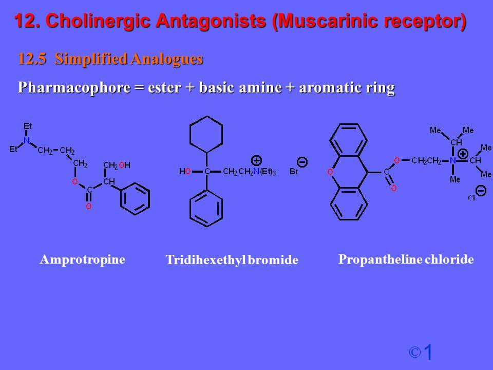 1 © 12.5 Simplified Analogues Pharmacophore = ester + basic amine + aromatic ring Amprotropine Tridihexethyl bromide Propantheline chloride 12. Cholin