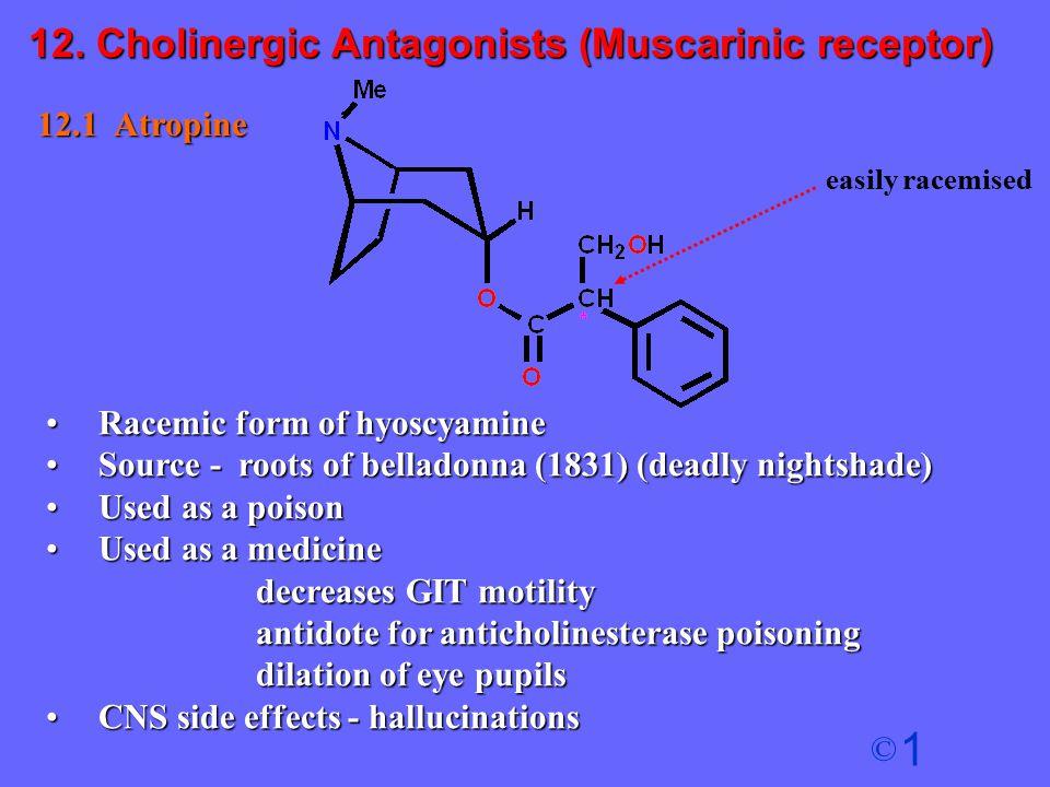 1 © 12.1 Atropine Racemic form of hyoscyamineRacemic form of hyoscyamine Source - roots of belladonna (1831) (deadly nightshade)Source - roots of bell