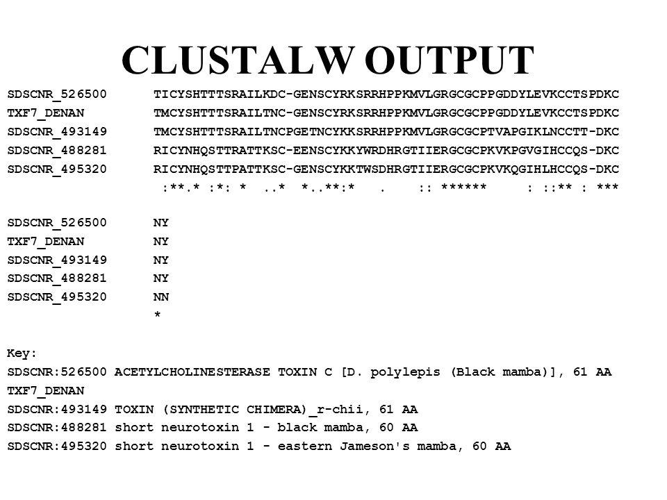 CLUSTALW OUTPUT SDSCNR_526500 TICYSHTTTSRAILKDC-GENSCYRKSRRHPPKMVLGRGCGCPPGDDYLEVKCCTSPDKC TXF7_DENAN TMCYSHTTTSRAILTNC-GENSCYRKSRRHPPKMVLGRGCGCPPGDDYLEVKCCTSPDKC SDSCNR_493149 TMCYSHTTTSRAILTNCPGETNCYKKSRRHPPKMVLGRGCGCPTVAPGIKLNCCTT-DKC SDSCNR_488281 RICYNHQSTTRATTKSC-EENSCYKKYWRDHRGTIIERGCGCPKVKPGVGIHCCQS-DKC SDSCNR_495320 RICYNHQSTTPATTKSC-GENSCYKKTWSDHRGTIIERGCGCPKVKQGIHLHCCQS-DKC :**.* :*: *..* *..**:*.