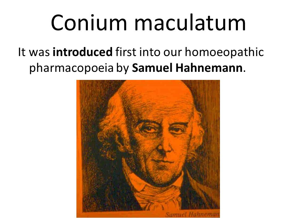 Conium maculatum Also we may see hypochondria in unmarried men with strict principles of sexual morality.