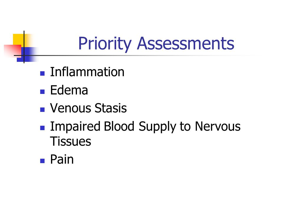 Priority Assessments Inflammation Edema Venous Stasis Impaired Blood Supply to Nervous Tissues Pain