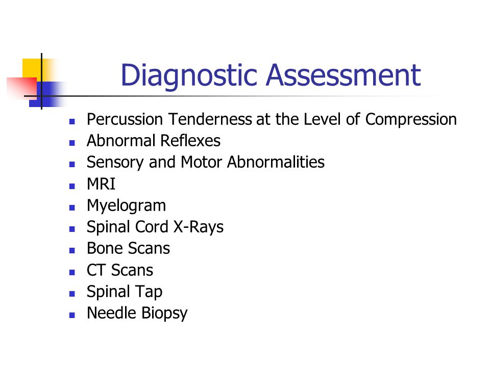 Diagnostic Assessment Percussion Tenderness at the Level of Compression Abnormal Reflexes Sensory and Motor Abnormalities MRI Myelogram Spinal Cord X-Rays Bone Scans CT Scans Spinal Tap Needle Biopsy