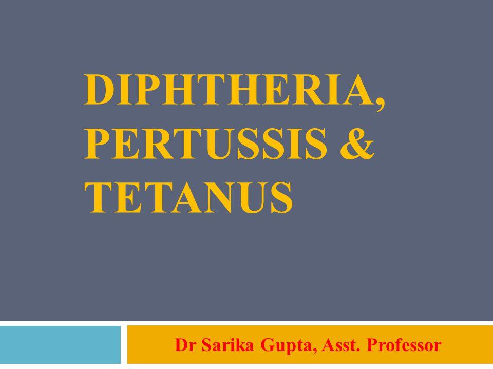 DIPHTHERIA, PERTUSSIS & TETANUS Dr Sarika Gupta, Asst. Professor