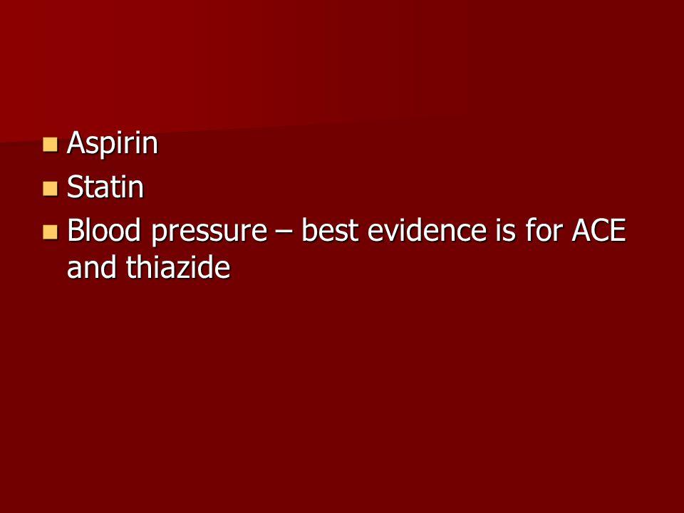 Aspirin Aspirin Statin Statin Blood pressure – best evidence is for ACE and thiazide Blood pressure – best evidence is for ACE and thiazide